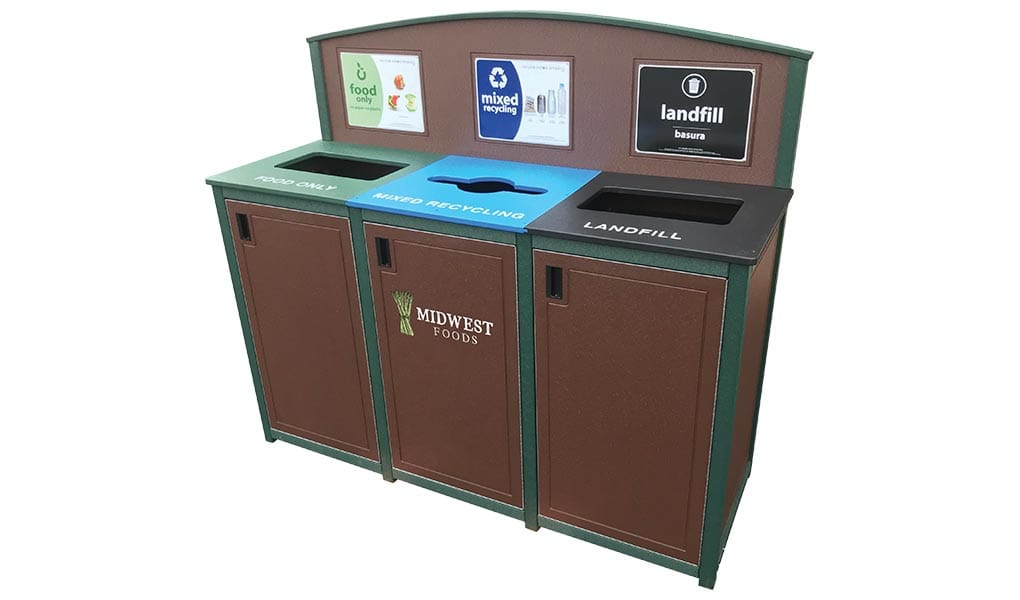 EasyCare Triple Recycling Bin with Arched Header