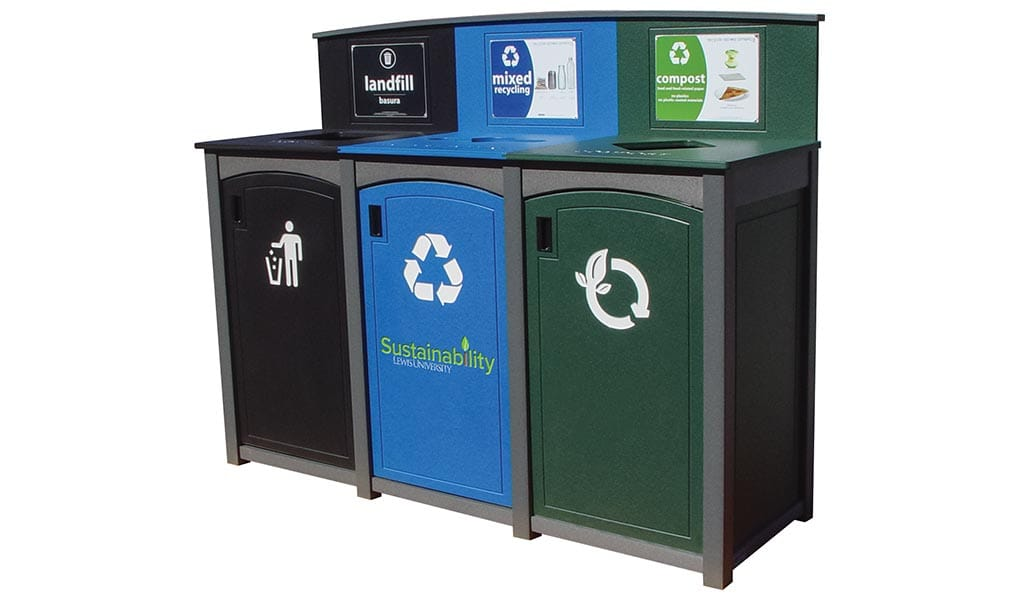 EasyCare Triple Recycling Bin with color coded lids