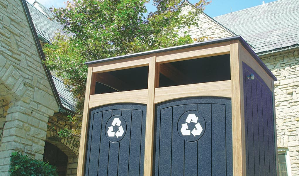 Lamboo Emerald Recycling Station with Reverse Sloped Roof